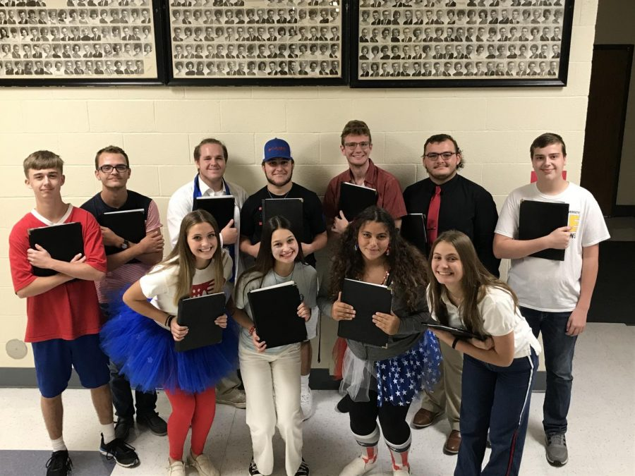 The All-District choir members smile after just receiving the news that they made the Choir! Pictured Top Left to Bottom Right: Seth Greenwood, Luke Bequette, Robert Wells, Wyatt Knapp, Chase Glore, Tucker Juliette, Seth Wright, Kalie Thompson, Noelle Porter, Bella DiFiori and Audrey Neel
