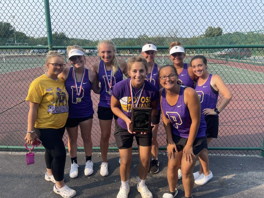 The team was happy with 2nd place because we had fun and missed 1st by 1 point. In the back row from left to right is Jessica Litteral, Laney Elders, Kya Gibson, Tori Krebbs, Grace Lamore, Hannah Barron. In the front row holding the plaque is Michelle Whitaker and next to her is Hailey Allgier.