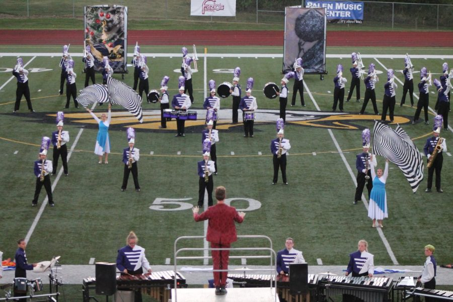 The+Potosi+Trojan+Marching+Band+performs+best+scoring+show+in+finals+at+Sullivan.+